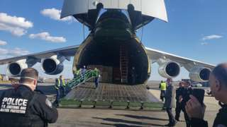 Russian medical aid arrives on air force plane at JFK airport, New York, 1 Apr 20