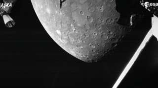 Black and white photo of the surface of Mercury