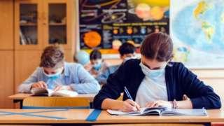 Pupils wearing face masks