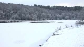 Frozen lake in Lancashire
