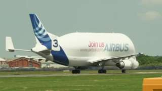 Airbus's Beluga which carries the wings made at Broughton