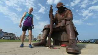 Scott Baker starting next to the 'Tommy' war memorial in Seaham