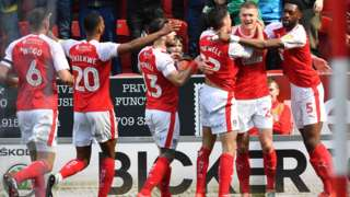 Rotherham players celebrate Michael Smith's opener