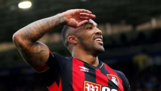 Callum Wilson celebrates scoring for Bournemouth against Huddersfield