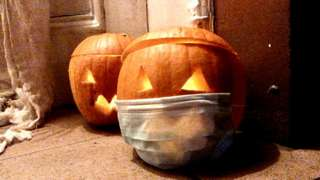 pumpkin with mask on