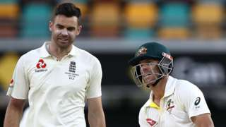 James Anderson and David Warner have words during day four of the first Test of the 2017/18 Ashes Series between Australia and England.
