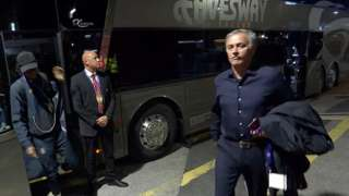 Jose Mourinho's Manchester United arrive at Old Trafford
