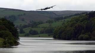 Lancaster bomber over Ladybower