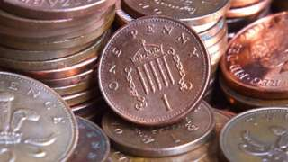 One and two pence coins