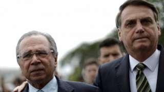 Paulo Guedes e Bolsonaro em Brasília