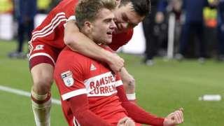Patrick Bamford celebrates scoring for Middlesbrough against Ipswich