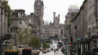 Union Street in Aberdeen after bars, cafes and restaurants have been ordered to close as lockdown restrictions are reimposed in over a coronavirus cluster in the area