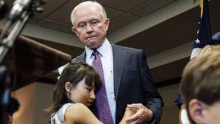 Sessions with his granddaughter after his concession speech in Mobile, Alabama, on 14 July 2020
