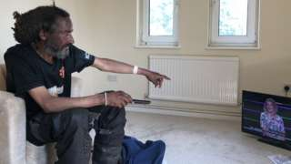 George Murray in his flat