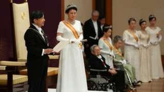 Emperor Naruhito and Empress Masako at his first speech as emperor, Tokyo (1 May 2019)