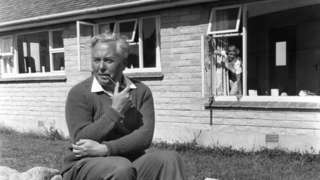 Harold Wilson outside the bungalow