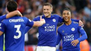 Jamie Vardy celebrates scoring for Leicester against Newcastle