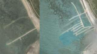 Hình ảnh chụp vệ tinh trong ngày 17/4 và 25/6 cho thấy các hoạt động nạo vét của TQ tại đảo Phú Lâm
