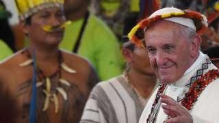 Папа Франциск и индейцы в Перу