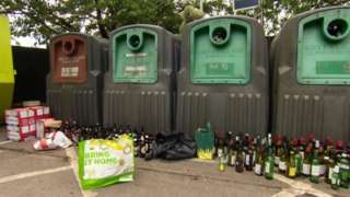 Bottles left outside containers