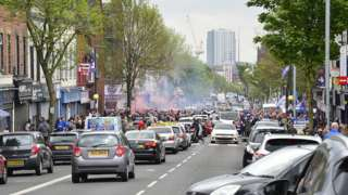 Rangers fans in the Shankill area