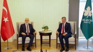Saadet Partisi Genel Başkanı Temel Karamollaoğlu ve Gelecek Partisi Genel Başkanı Ahmet Davutoğlu