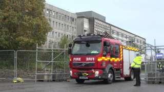 Fire engine at Royal Cornwall Hospital