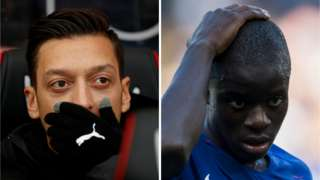 Arsenal's Mesut Ozil and Chelsea's N'Golo Kante