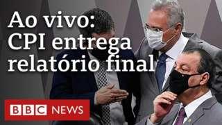 Renan Calheiros e Omar Aziz no Senado, e o texto: Ao vivo - CPI entrega relatório final