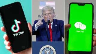 Montagem com imagens do TikTok de Donald Trump e do WeChat