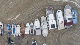 Fishing boats covered by sea snot