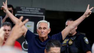 Roger Stone outside court in Fort Lauderdale, Florida,