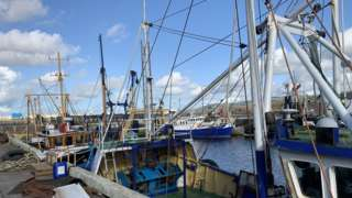 Fishing boats moored in Peel harbour