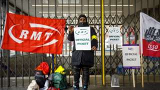 Official picket outside King's Cross St Pancras station
