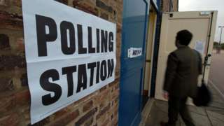 Man entering polling station in Hartlepool
