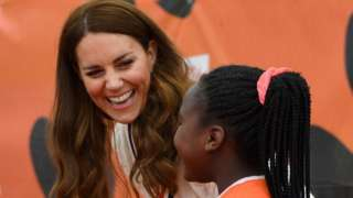 The Duchess of Cambridge with local schoolchildren taking part in the Lawn Tennis Association's youth programme at Craiglockhart Tennis Centre in Edinburgh