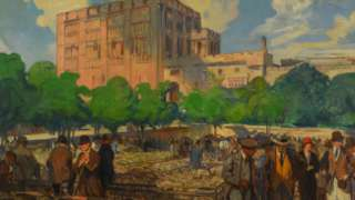 Charles Fouqueray oil painting of Norwich Castle painted in the 1920s