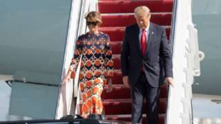 Trump and Melania arriving at Florida after leaving the White House
