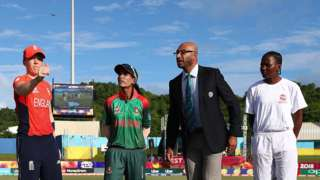 Heather Knight, Captain of England and Salma Khatun, Captain of Bangladesh pictured during the coin toss