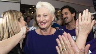 Independent candidate Dr Kerryn Phelps pictured after her poll victory in Sydney