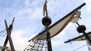 The sails of the Mayflower model