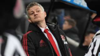 Ole Gunnar Solskjaer watches his Man Utd side take on Newcastle