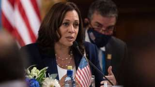 Ms Harris holds talks with the Guatemalan president on Monday