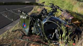 Wreckage of helicopter crash
