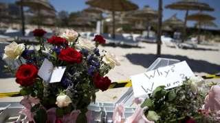 Flowers at scene of Tunisia beach attack
