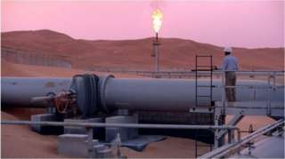 Aramco'ya ait bir petrol tesisi