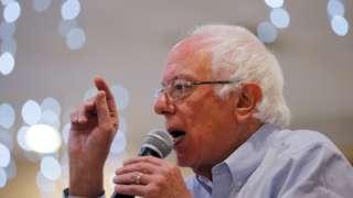 Bernie Sanders speaks at a rally in September
