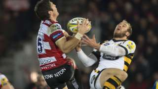 James Hook of Gloucester Rugby (L) and Dan Robson of Wasps in action