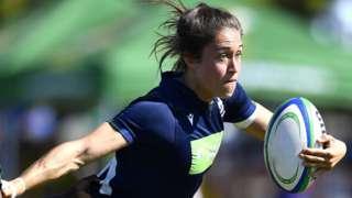 Scotland's Rhona Lloyd runs with the ball