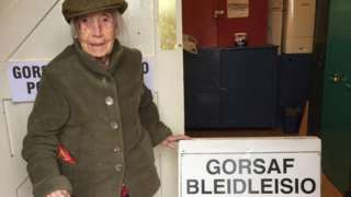 Amy Winifred Hawkins at polling station